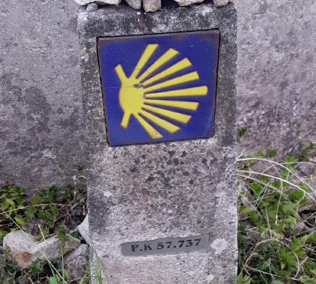 Mojón kilométrico Camino Santiago
